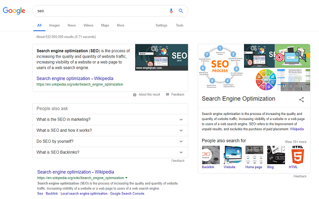Google search results for short-tail keyword