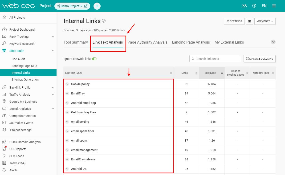 the-webceo-internal-links-tool