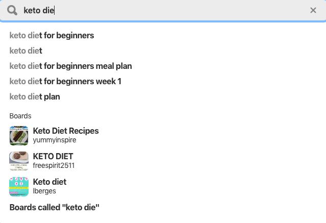 Finding keywords in Pinterest.