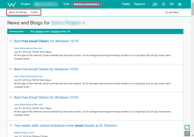 Track linked and unlinked mentions with WebCEO's Web Buzz Monitoring tool.