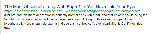 Stay within the character limits while filling out yur web pages' titles, descriptions and URLs.