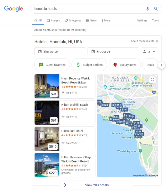 How Google displays hotels in search.