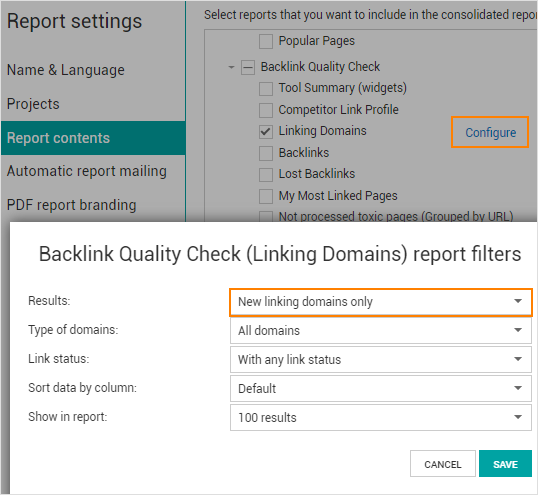 New linking domains filter in the Linking Domains report.