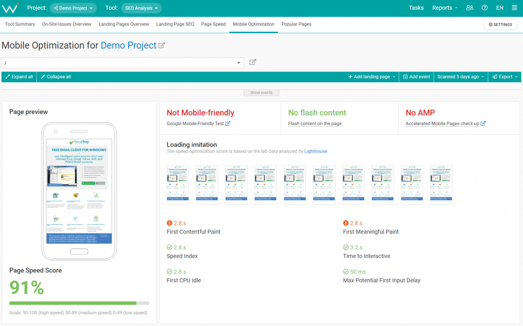 The WebCEO SEO Analysis Tool - Mobile Optimization