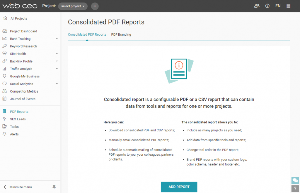 How to create an SEO report in WebCEO