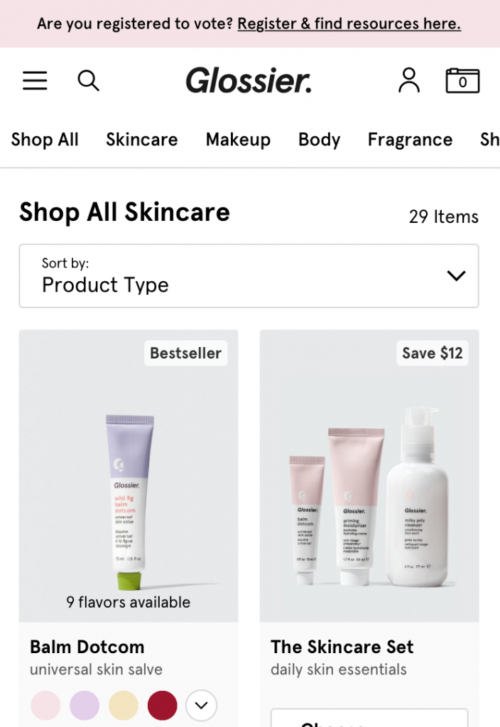 Glossier's mobile website features visual cues and organized categories.
