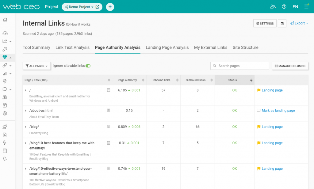 The WebCEO Internal Links Tool - Page Authority Analysis
