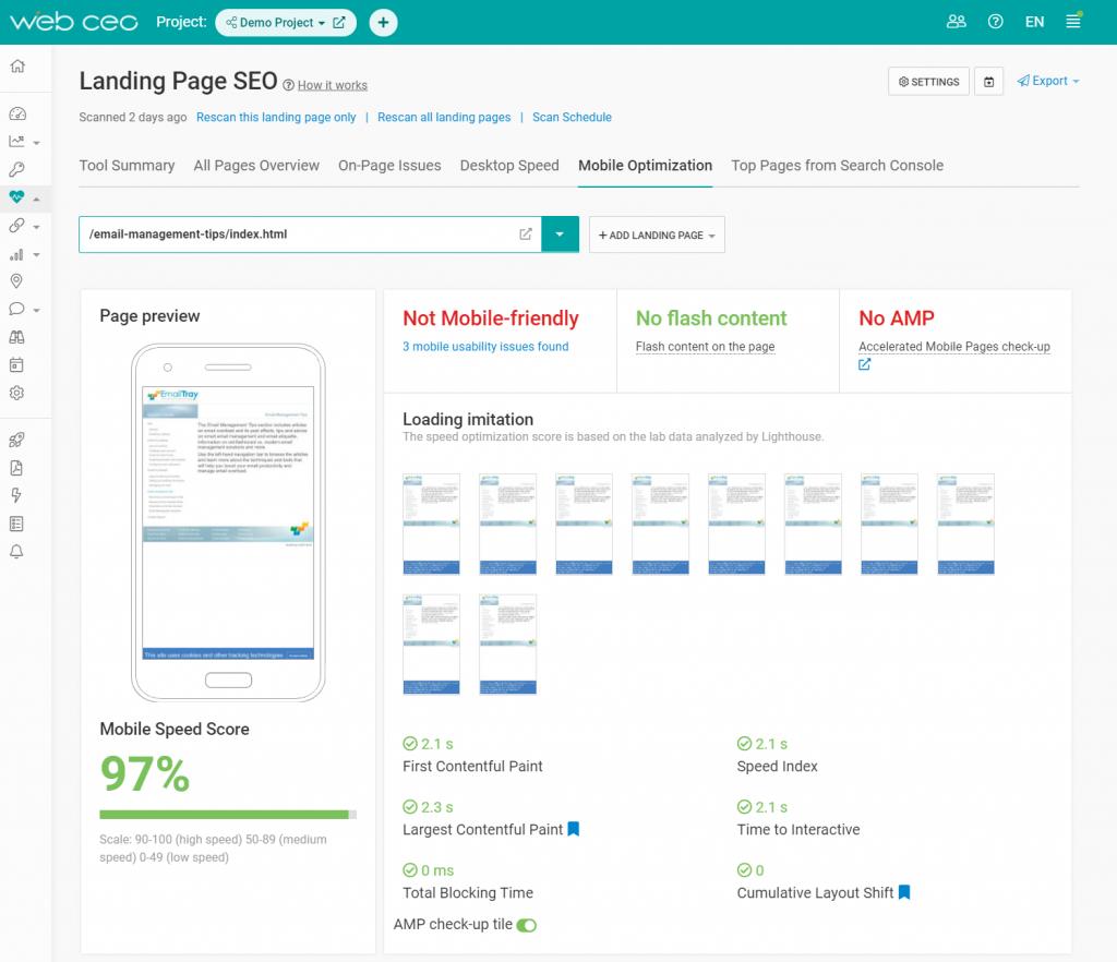 The WebCEO SEO Analysis Tool - Mobile Optimization