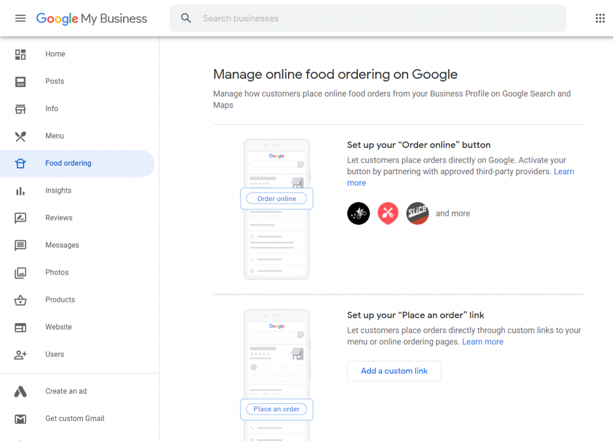 Food Ordering - Google My Business