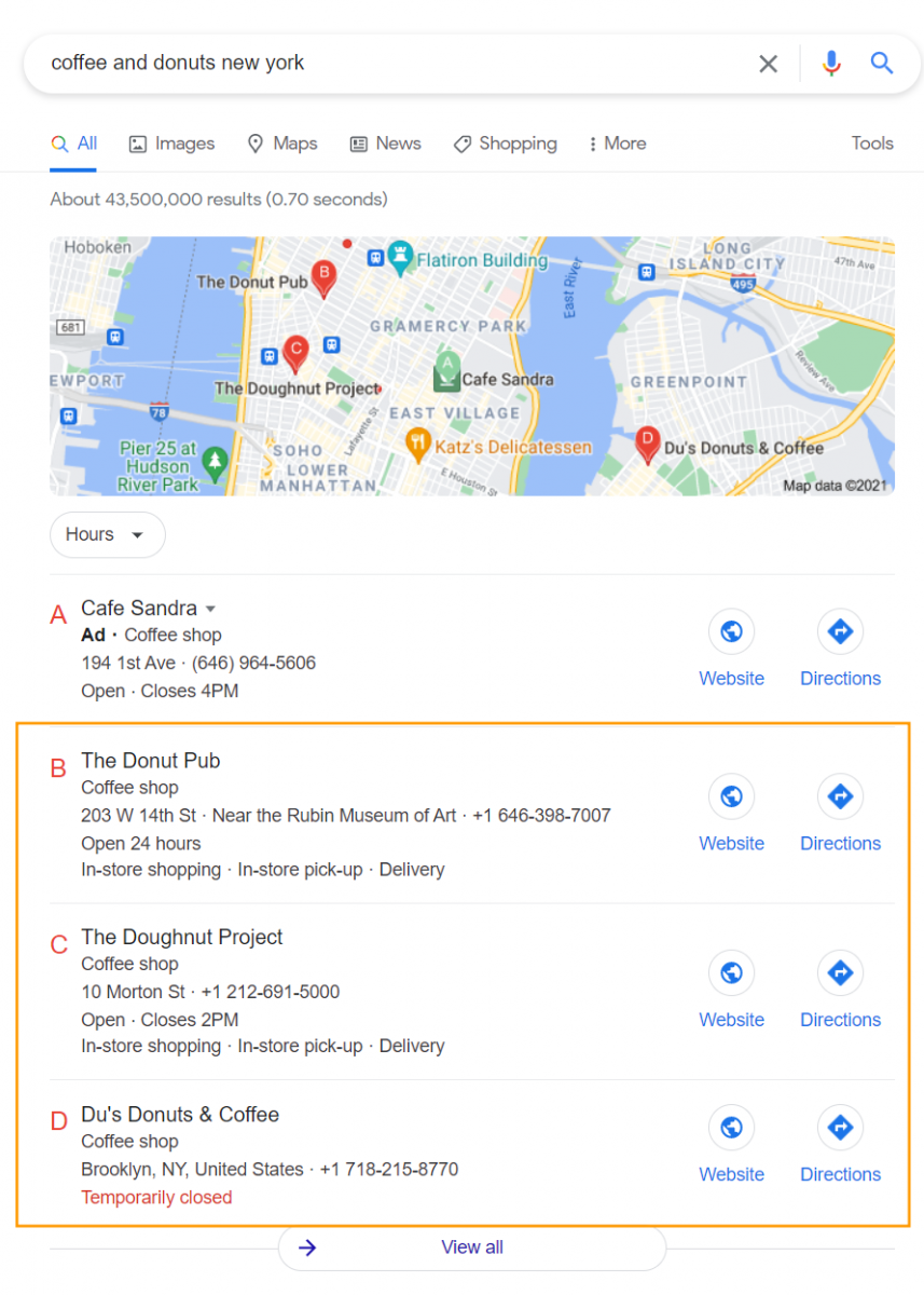 The Google Local 3 Pack