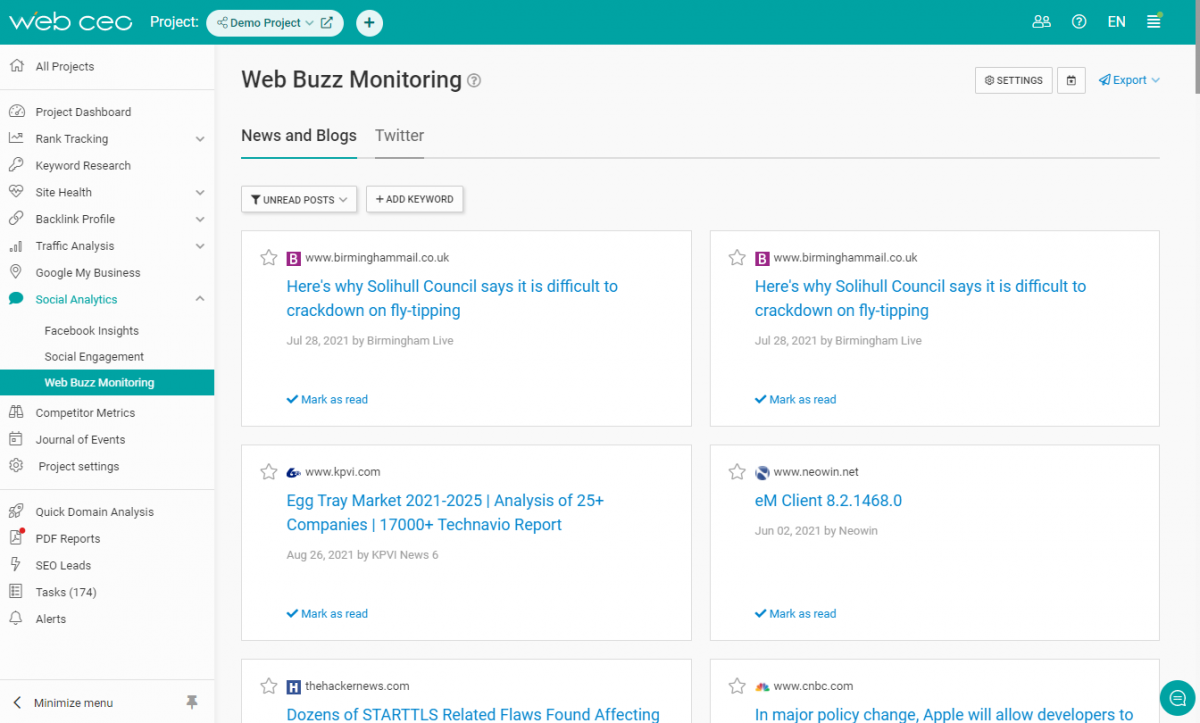 The WebCEO Buzz Monitoring Tool