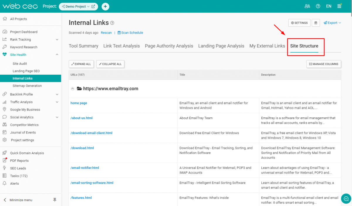 The WebCEO Internal Links Tool - Site Structure