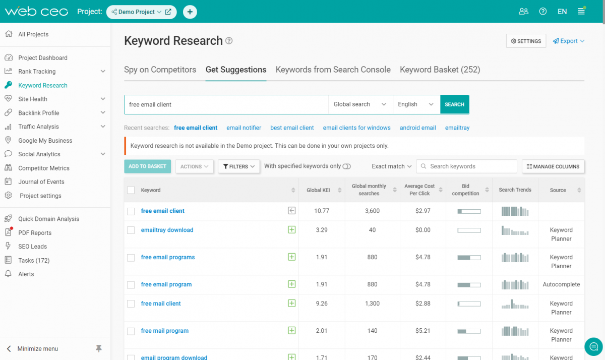 The WebCEO Keyword Research Tool