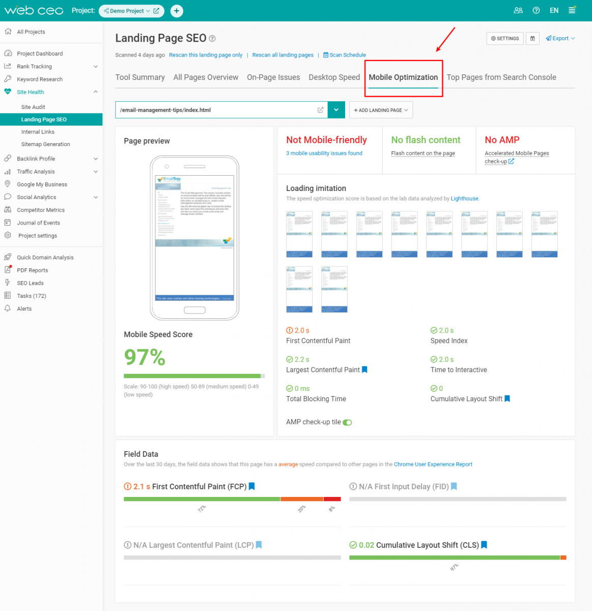 The WebCEO Landing Page SEO Tool - Mobile Optimization