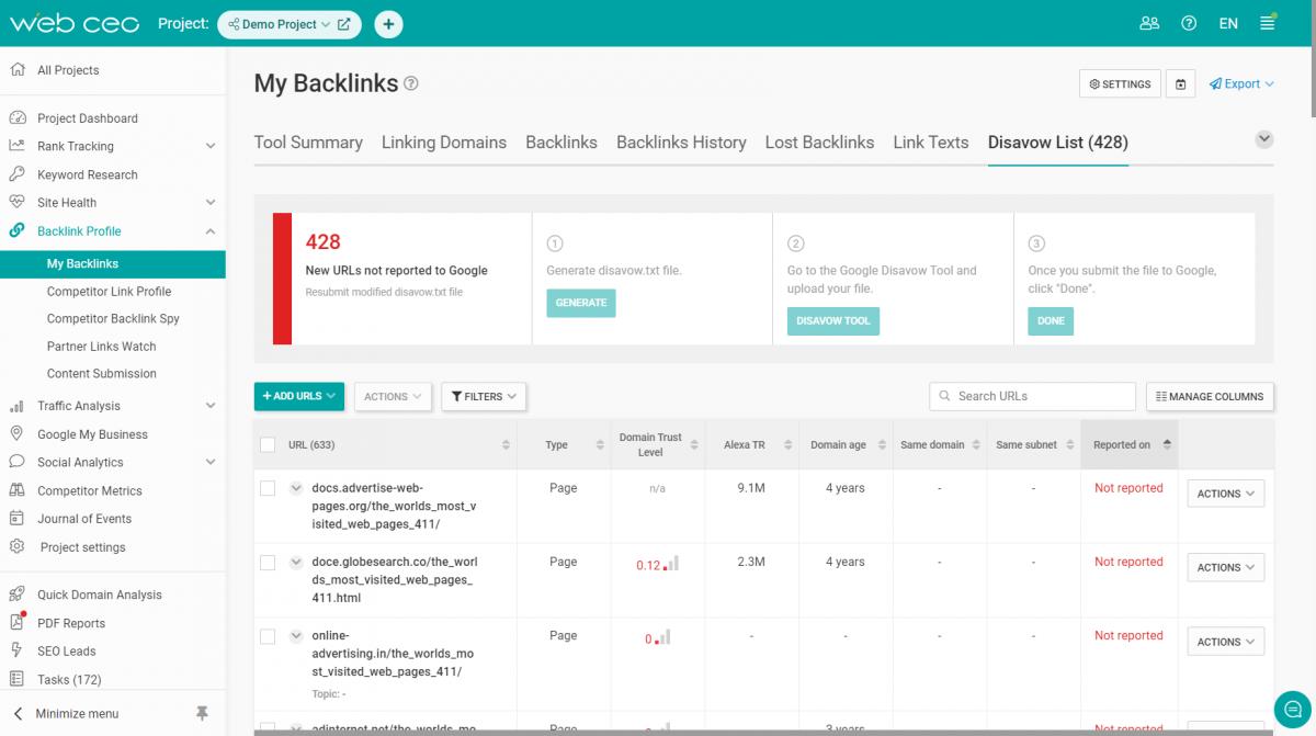 The WebCEO My Backlinks Tool