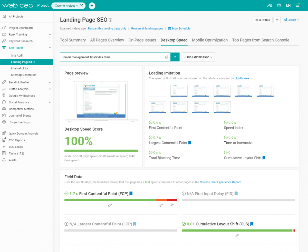 The WebCEO Site Health Tool