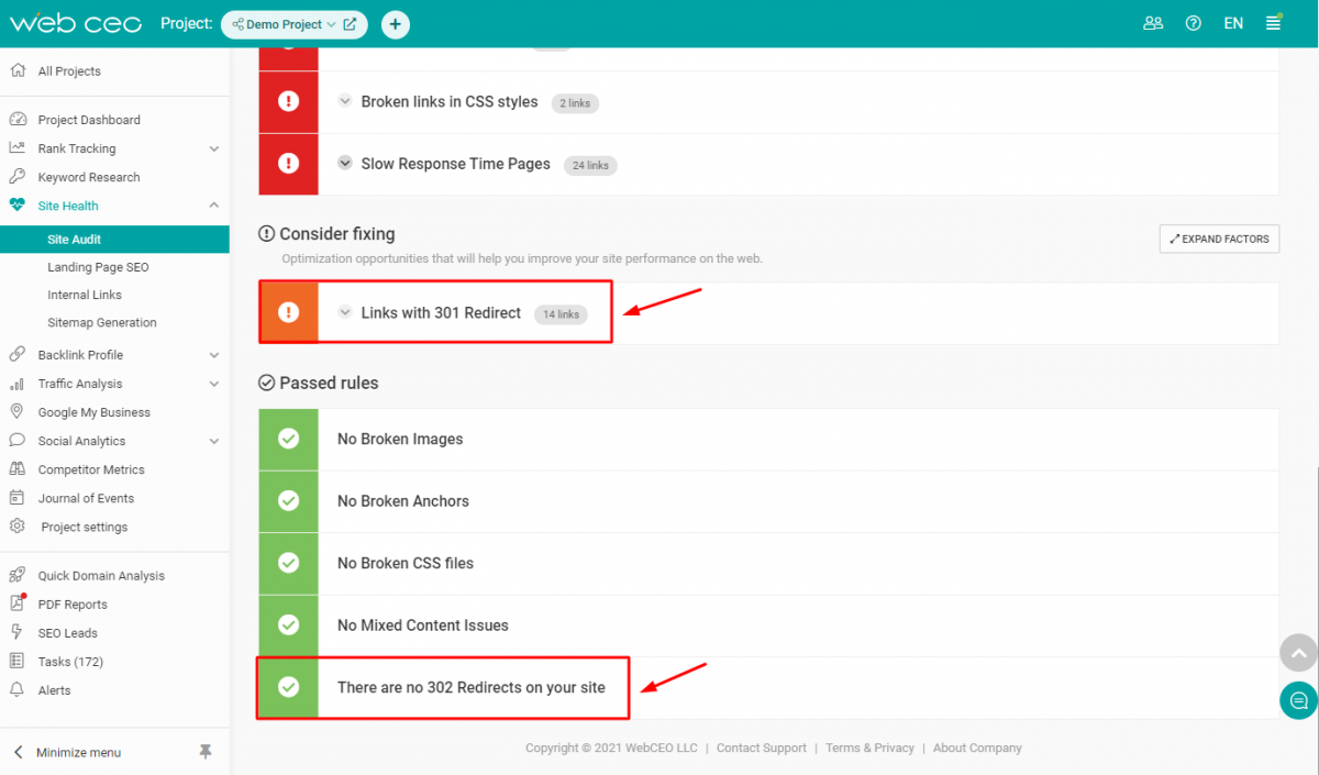The WebCEO Technical Audit Tool - Redirects