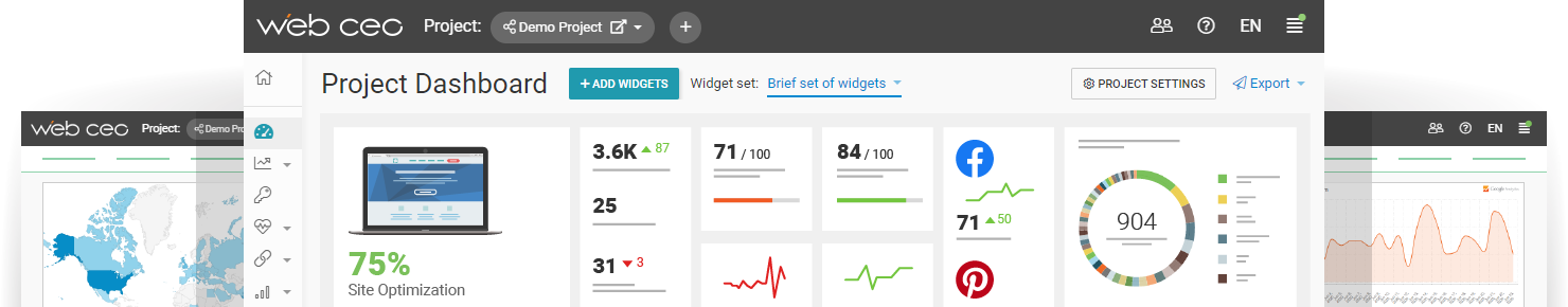 WebCEO Interface, Project Dashboard