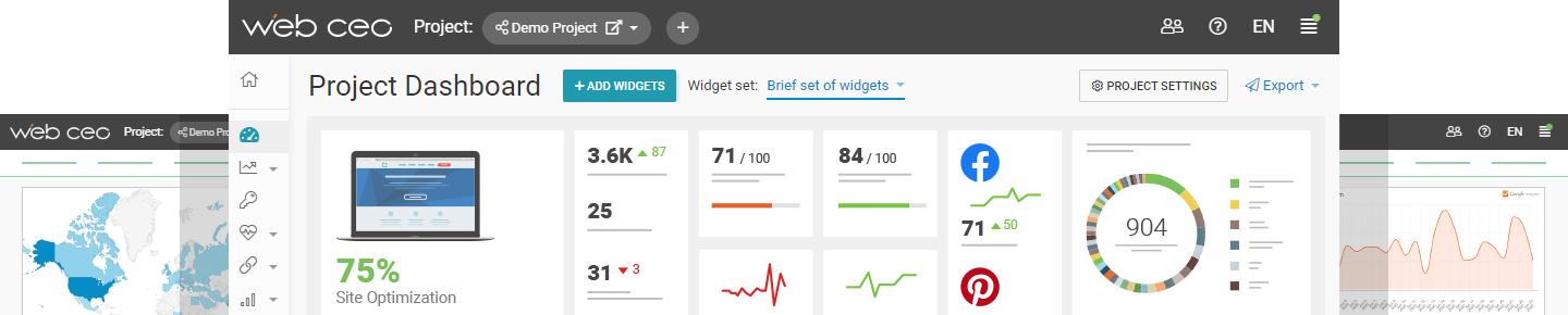WebCEO Interface Dashboard