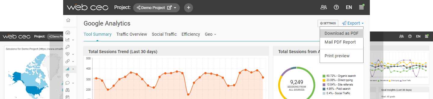 WebCEO Traffic Analysis Reporting Tool
