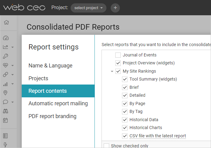 WebCEO Consolidated Report Settings