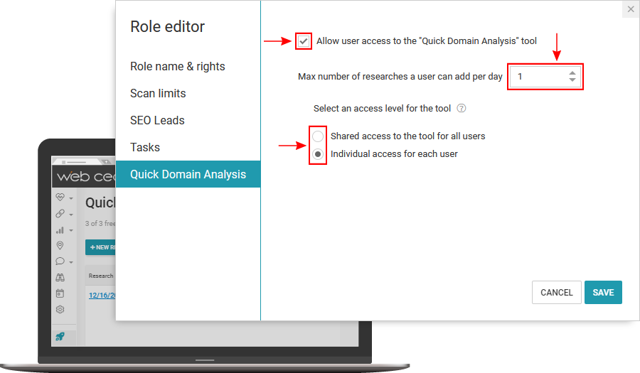 WebCEO Quick Domain Analysis Tool | White Label Domain, Role Editor