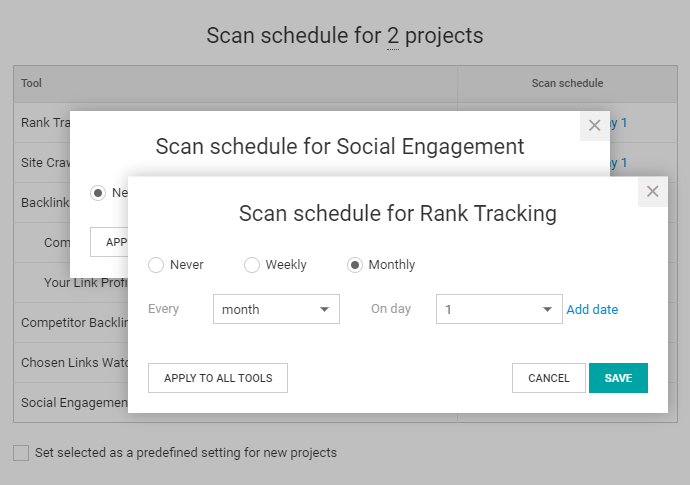 WebCEO Scan Schedule