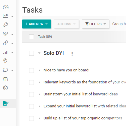 WebCEO screenshot get your DIY SEO roadmap