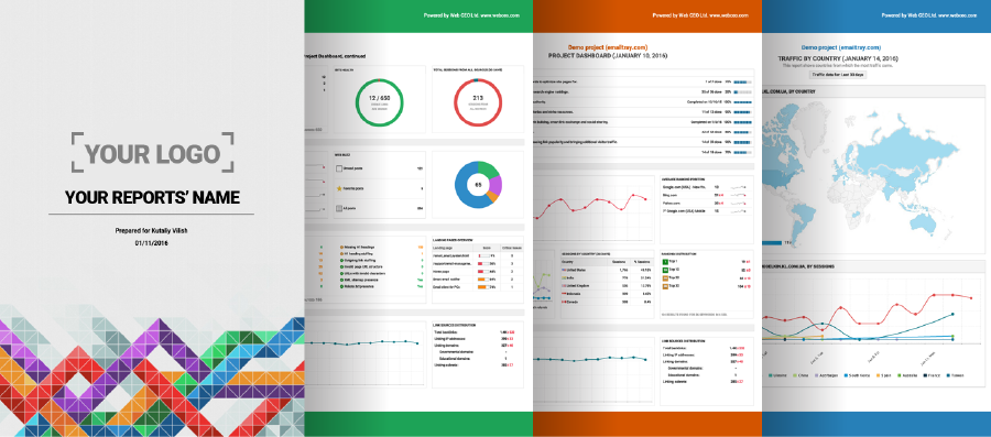 Brand your SEO Analysis Reports with your Brand name, logo and corporate colors